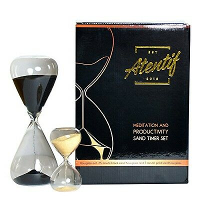 Atentif Hourglass Clock Timers-25 and 5 Minute-Black and Gold Sand-Productivity,