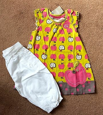 BNWT Girls Next Apple Smock Top & Cop Pants Outfit Set Age 2-3