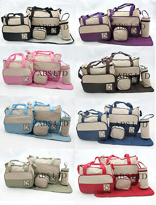 5Pcs Cute Embroidery Mummy Baby Nappy Diaper Changing Shoulder Bags Set