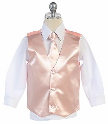 Boys Men Formal Blush Color Satin Vest for Tuxedo Suit with Necktie Made in USA