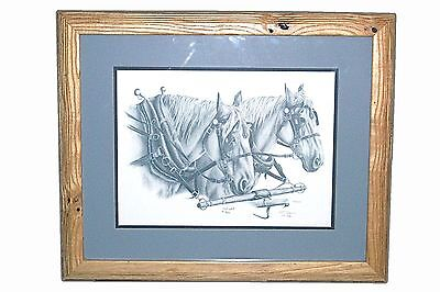 """22""""x18"""" Horse Horses Pencil Numbered Print Hand Signed BLUE Matted Wood Framed"""