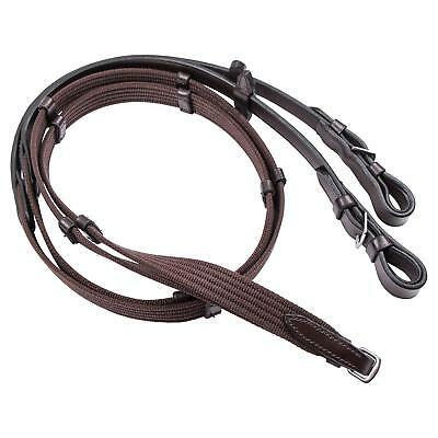 New Equestrian English Quality Leather Web Reins Continental Full Leather Brown