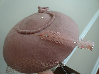 Vintage 1940's DUBARRY Pink Wool Hat w/ Feather & Netting