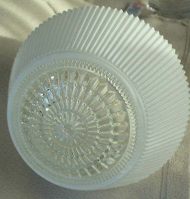 Vintage 1950's 60's Kitchen Hall Ceiling Light Shade Globe White & Clear Glass