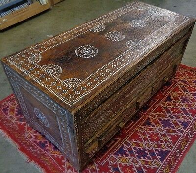 Beautiful Antique Wooden Chest w Outstanding Inlaid Mother of Pearl & Carved DSG