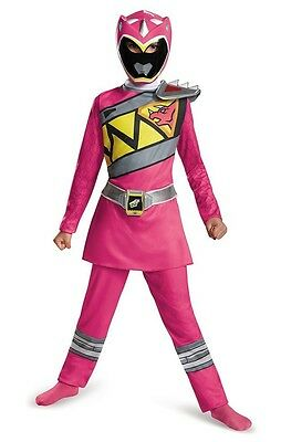 Girls PINK POWER RANGERS DINO CHARGE Costume Dress Up Size S 4/6 M 7/8 Mask NWT