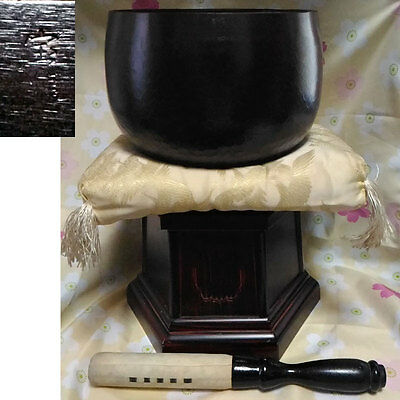 "HUGE Marked 7.52"" Japanese Buddhist Copper Bell FORGED Hand-pounded Set024"