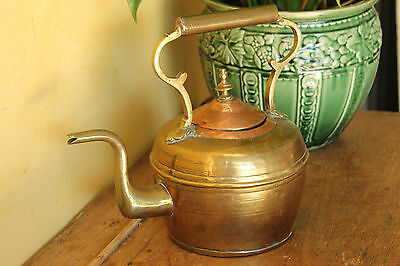 Antique Victorian Brass & Copper  Kettle.