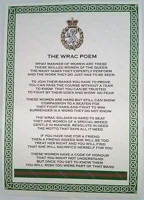 Women's Royal Army Corps Poem British Army Military Regiment Company WRAC