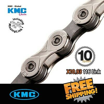 KMC X10.93 Chain 116 link Silver/Grey with Missing Link for Road / MTB Bike