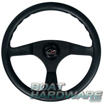 Black Sports STEERING WHEEL for Small Power Boat Multiflex Alpha 3 Spoke 340mm