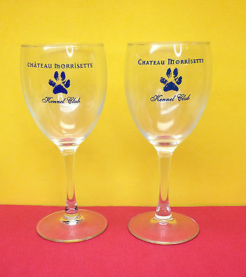 A Pair Chateau Morrisette Kennel Club Wine Glasses Winery Virginia Stemmed Glass
