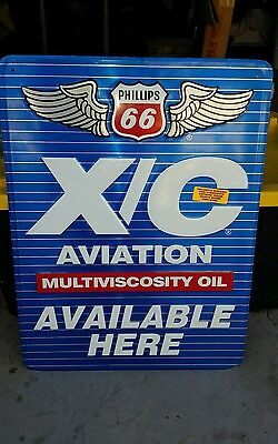 Vintage Rare Phillips 66 Aviation Performance X/C  oil sign  Foot with wings