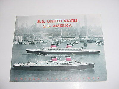 SS UNITED STATES LINES  Mid-Century Travel Agency Brochure  /  Perfect Condition