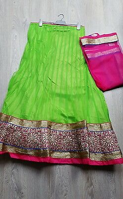 Navratri special Indian Party Wear Designer Wedding Lengha choli green &pink.
