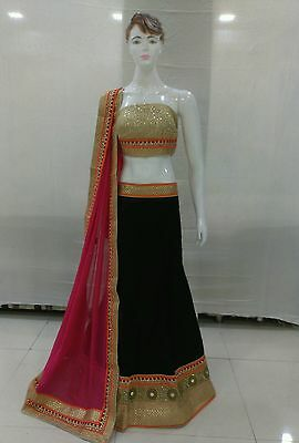 Indian Party Wear Designer Bollywood Lengha choli blue and pink with bloues pice