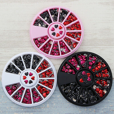 1 Box Mixed Color 3D Nail Art Decoration in Wheel Manicure DIY Heart Pattern