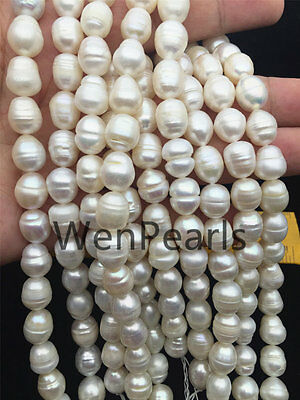 AA 10-11mm white Ring rice freshwater pearls,2mm big hole,Valentine's Day gift