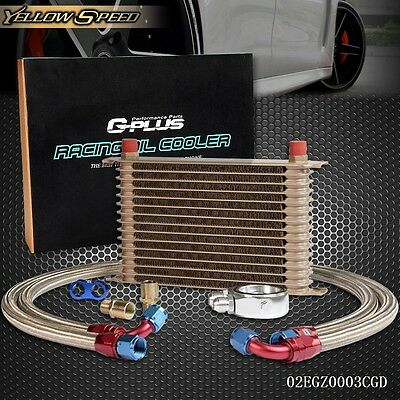 UK GPLUS 15 Row An10 Universal Engine Transmission Oil Cooler+Filter Adapter kit