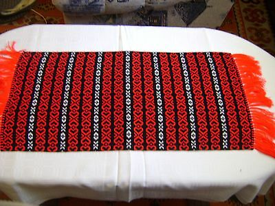 RUSTIC HAND-WOVEN  TABLE RUNNER HUNGARIAN FOLK ART  31x13""