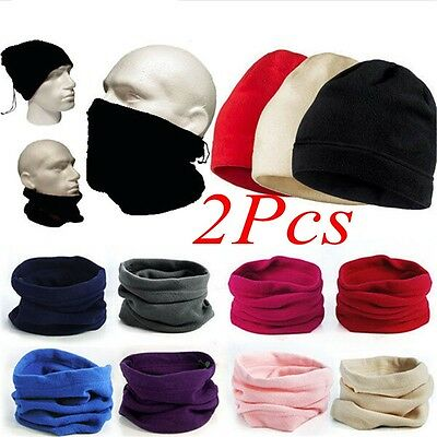 2Pcs 3in1 Winter Sport Thermal Fleece Scarf Snood Neck Warm Face Mask Beanie Hat