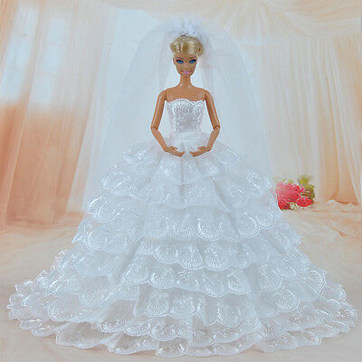 E-TING White Gorgeous Wedding Dress Princess Gown Clothes Veil for Barbie Doll K