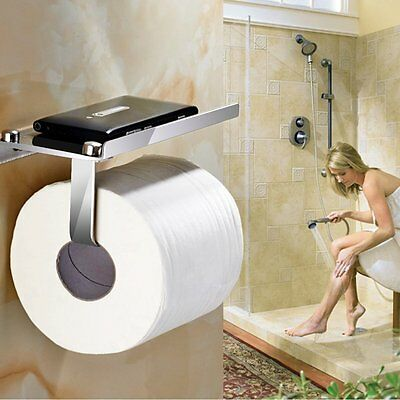 Toilet Roll Paper Chrome Holder Wall Mounted with Phone Holder Stainless Steel
