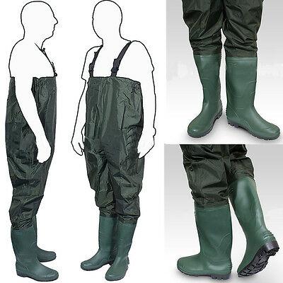 Heavy Duty PVC Chest Waders Size 6-10 Fly Coarse Fishing Tackle with Cleat Sole