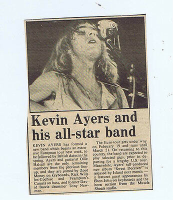 KEVIN AYERS press clipping (15/2/75) 13X9cm