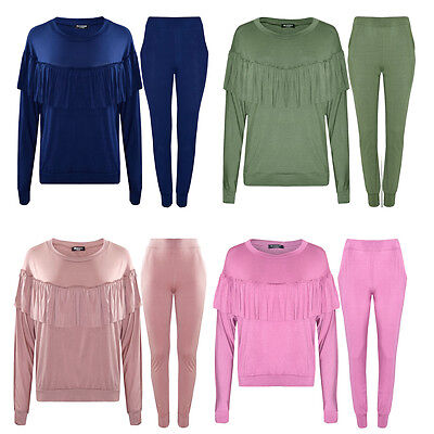 Ladies Girls Frill Ruffle Lounge Wear Mother Daughter Tracksuit Jogger Suit New