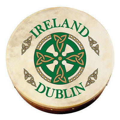 """8"""" Bodhran With Dublin Celtic Cross Design, Comes With Beater"""