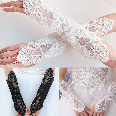 NEW Party Fingerless Lace Short Paragraph Rhinestone Bridal Wedding Gloves