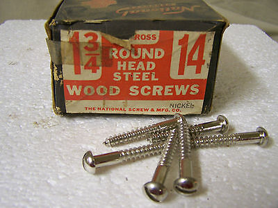 "#14 x 1 3/4"" Round Head Nickel Plated Wood Screws Slotted Made in USA Qty. 144"