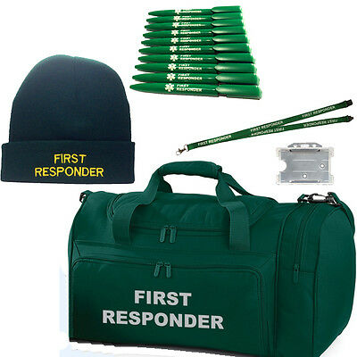FIRST RESPONDER Bag/Holdall, Woolly Hat, 10 Pens & Lanyard/Id Holder Collection