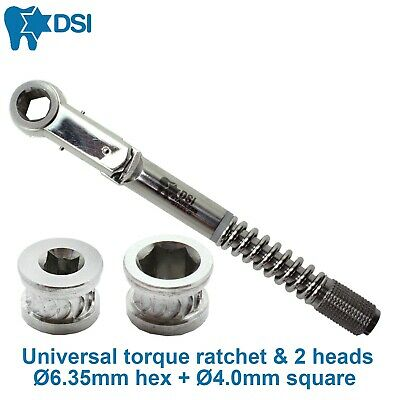 Dental Implant Differential Torque Wrench Ratchet 2 Heads 6.35mm 4.0mm
