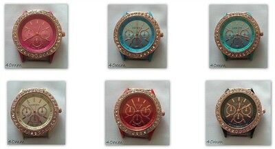 Large Rhinestone Dial Watch Face Gold Plated Coloured Enamel Various Colours