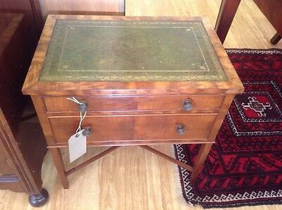 Coffee Table Vintage Leather Top Mahogany Sewing Box