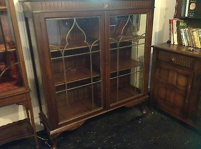 Bookcase Large Mahogany Edwardian Glazed & Leaded  With Queen Anne Style Legs