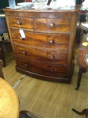 Chest Of Drawers Beautiful Victorian Burr Mahogany Bow Fronted