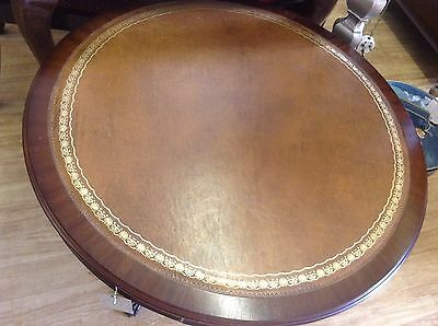 Vintage Leather Topped Drum Table With Drawer