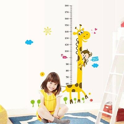 Giraffe Baby Kid Room Deco Height Ruler Measure Chart Wall Sticker Decal Paper