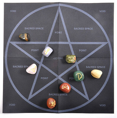 Witch Stones Runes Set with Pagan Gemstones featuring Futhark Runic Symbols