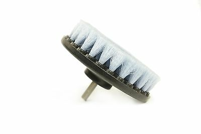 """5"""" Auto Cleaning Rounded Brush with Power Drill Attachment, Soft Bristle, White"""