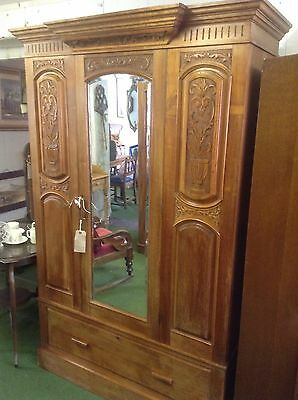 *FREE MAINLAND UK DELIVERY Ornate Antique Wardrobe With Mirror And Bottom Drawer • £425.00