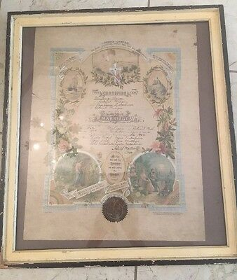 Antique Marriage Certificate - 1906- Framed Detroit Michigan 19 X 17""