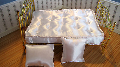 Dollhouse Miniature Furniture ~ White Satin Mattress With Two Pillows ~ Double ~