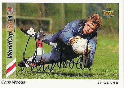An Upper Deck World Cup USA 1994 card signed by Chris Woods of England.
