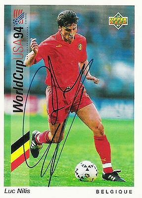 An Upper Deck World Cup USA 1994 card signed by Luc Nilis of Belgium.