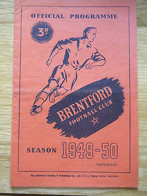 1949 / 1950 BRENTFORD v BLACKBURN FOOTBALL PROGRAMME