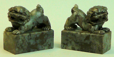A FINE PAIR OF OLD CHINESE CARVED SOAPSTONE BUDDHISTIC TEMPLE DOGS EARLY 20th C